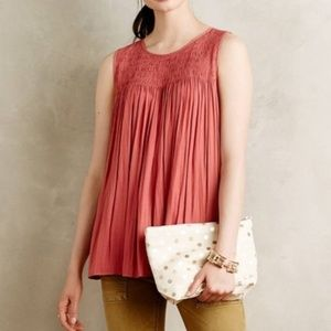 Anthropologie Pink Smocked Sleeveless Swing Tank